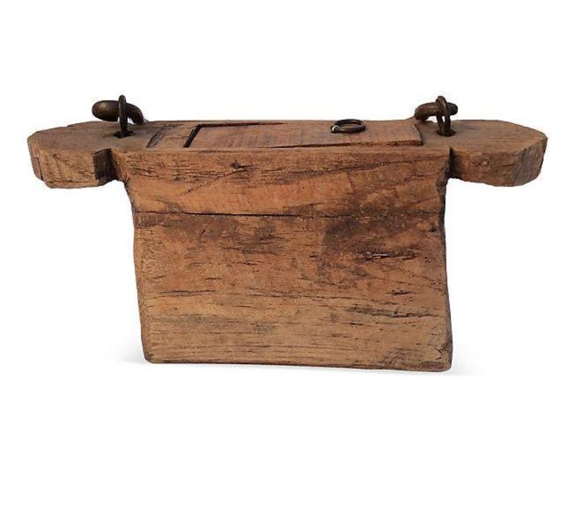 Carved Wooden Box with Metal Handle