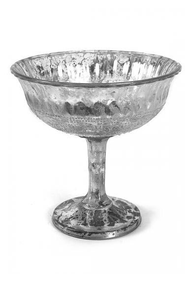Silver Glass Pedestal Bowl