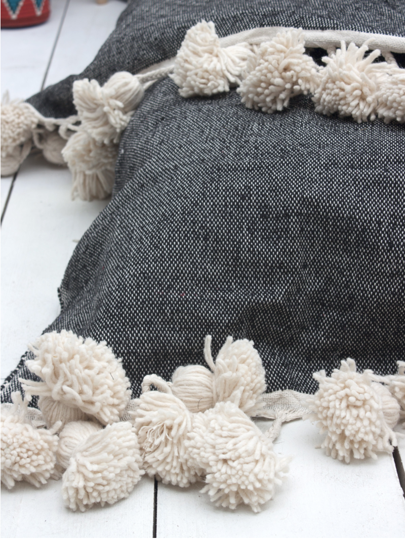 Supersized Tassel Cotton Throw in Charcoal, Taupe, or Grey