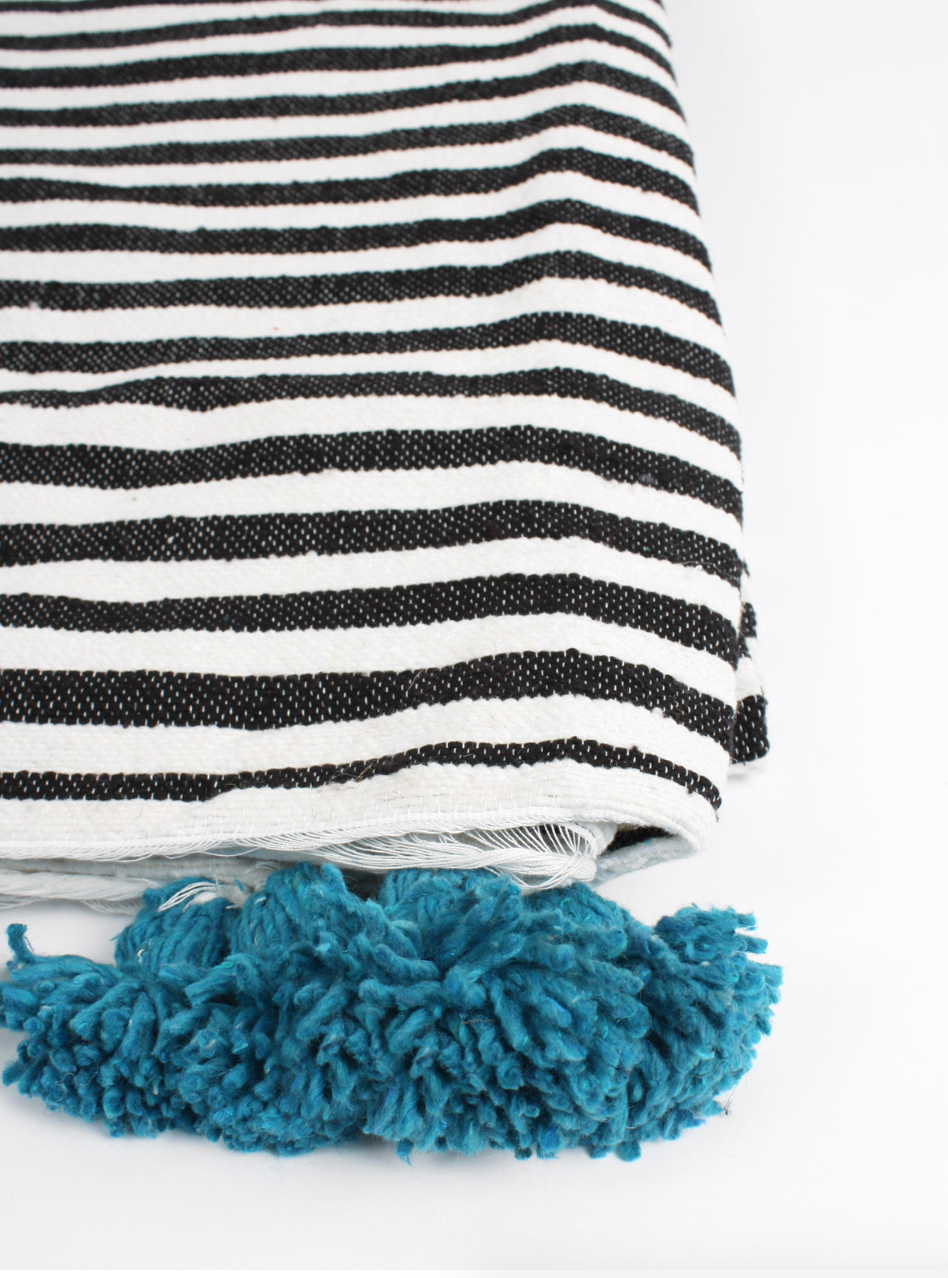 Striped Cotton Tassel Blanket in either Teal, Maroon, or Rust