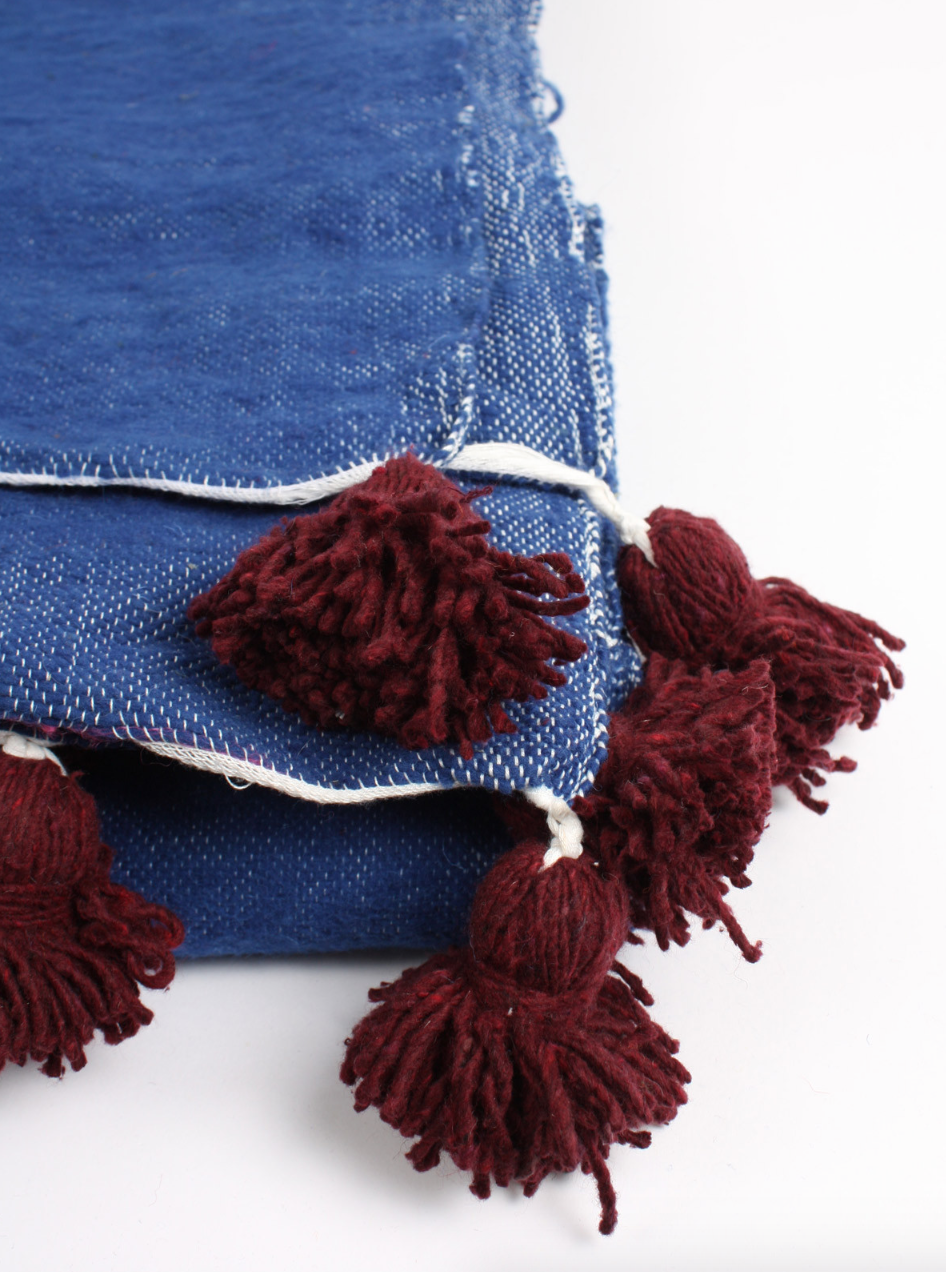 Let's Get Our Pom Poms ON Indigo Wool Blanket LARGE