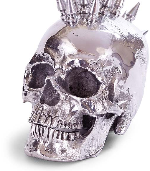 Rockstar Silver Skull Head with Spikes