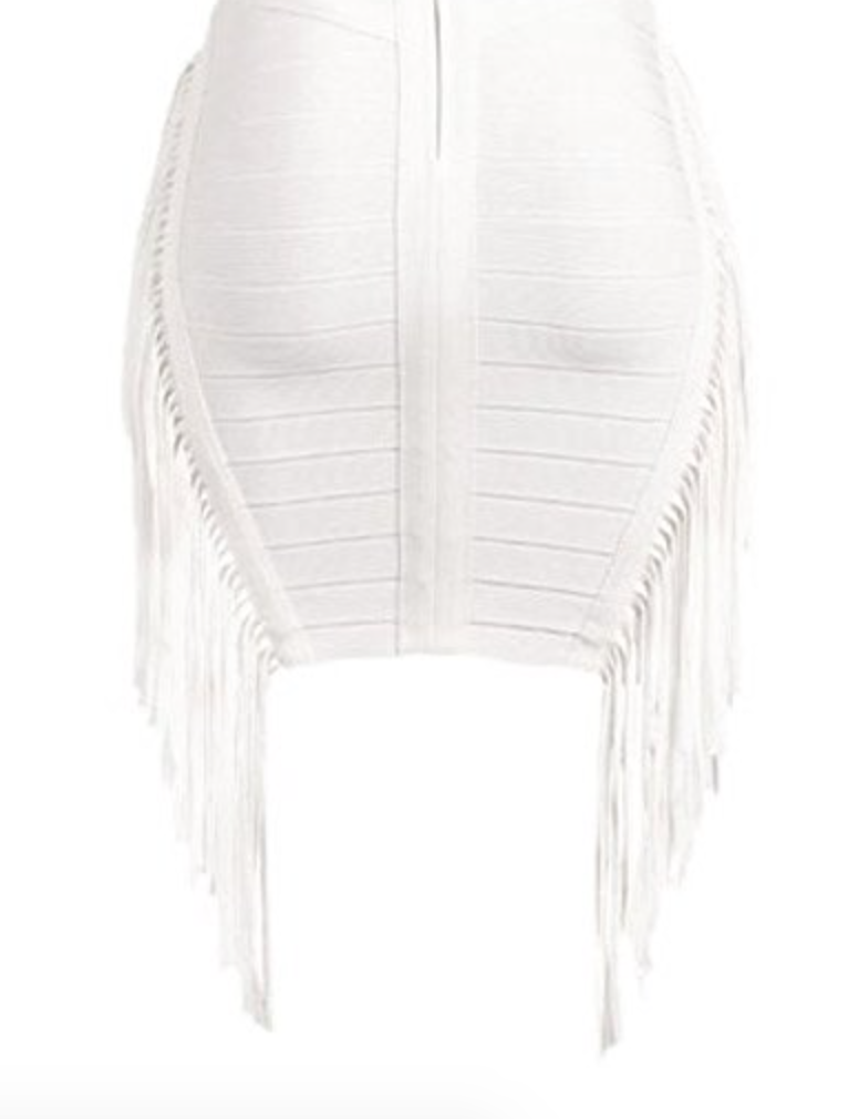 THE Fringe Cocktail Dress in White