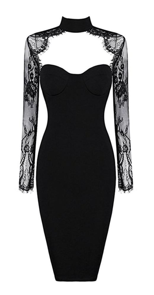 French Lace Cut Out Cocktail Dress