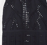 Studded Cut Out Flapper Fringed Cocktail Dress in Black