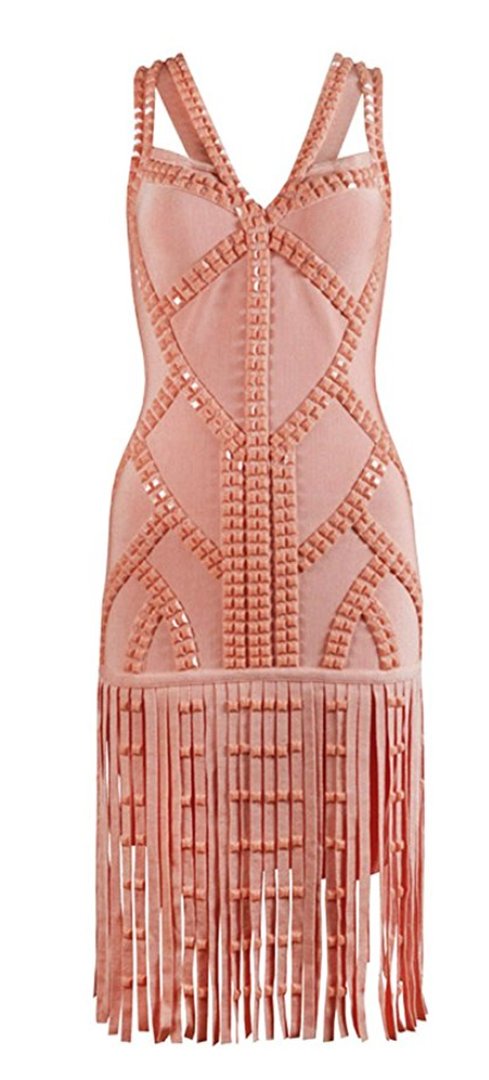 Studded Cut Out Flapper Cocktail Dress in Pink