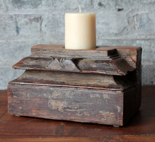 Teak Reclaimed Wood Vintage Handmade Candle Holder (One of a Kind)
