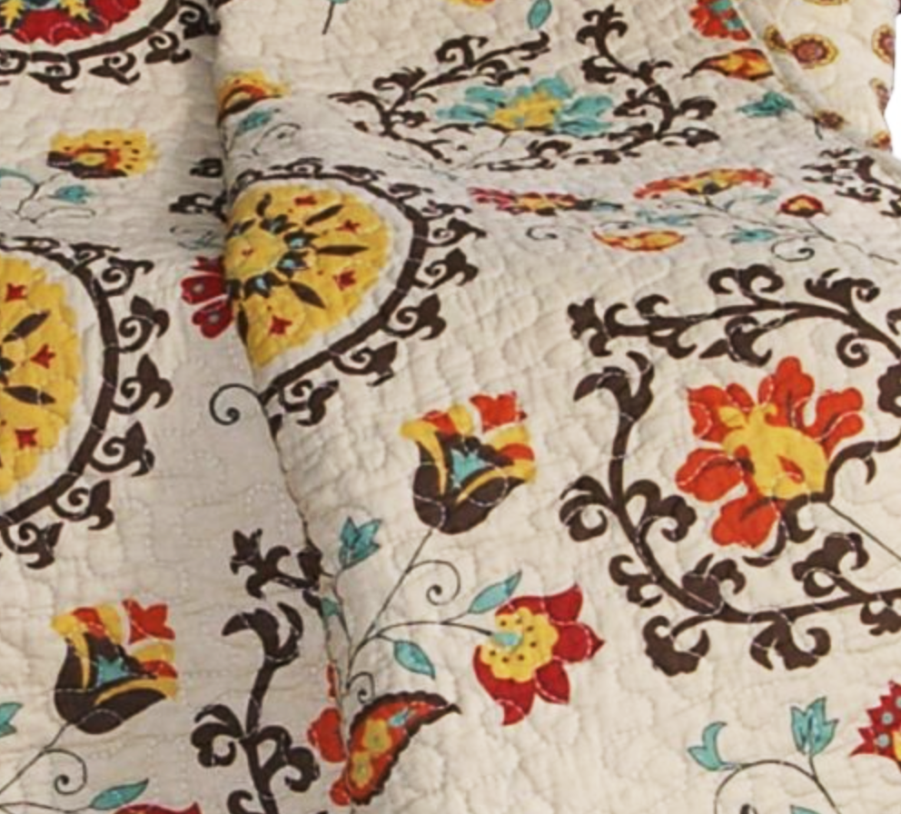 Handmade Floral Quilt in Cream