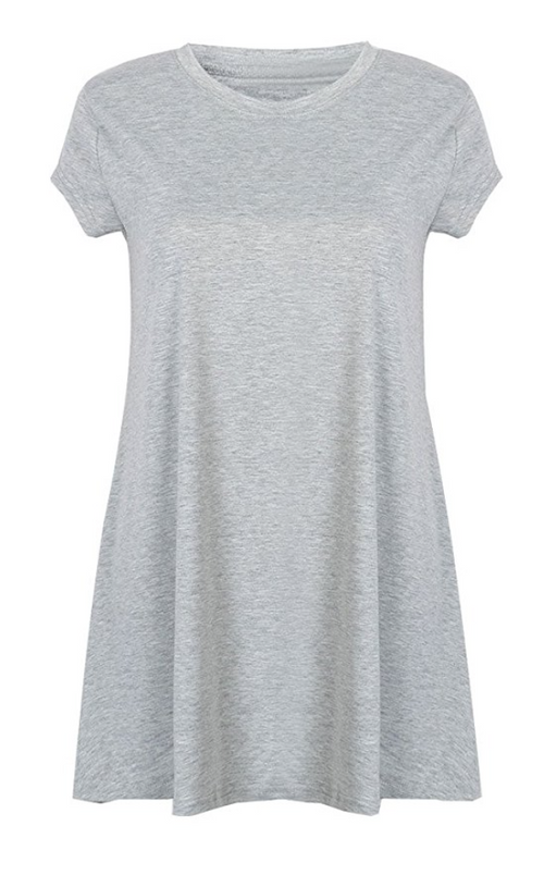 Short Sleeve X Thigh Length Heather T Shirt Dress