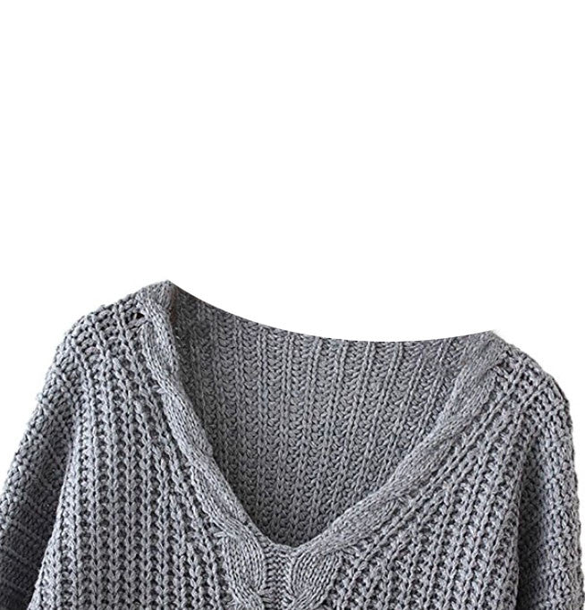 Loose Cotton Cable Knit Sweater Dress Heather S/M