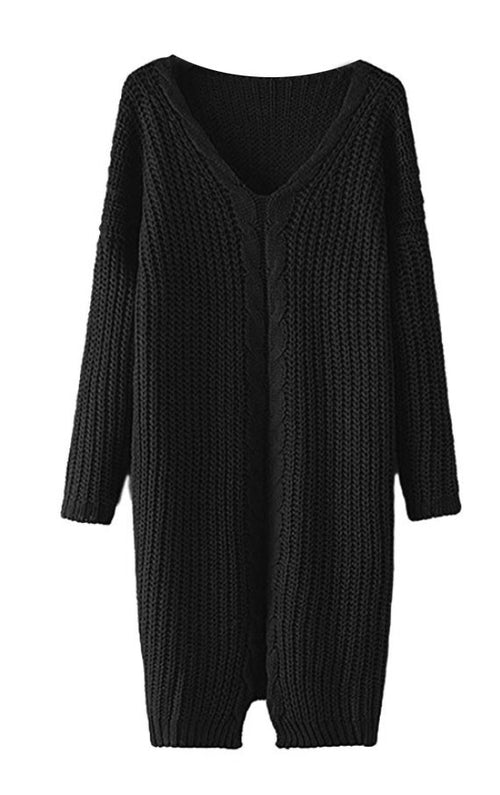 Loose Cotton Cable Knit Sweater Dress Black S/M