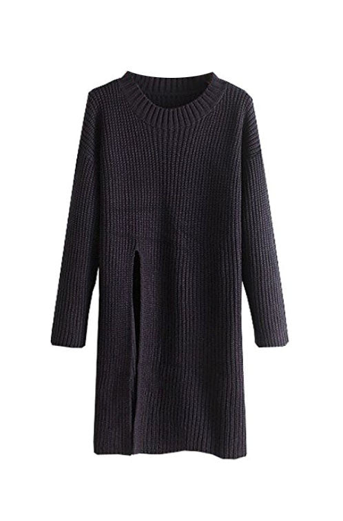Sexy Side Split Loose Cotton Sweater Dress Navy Blue S/M