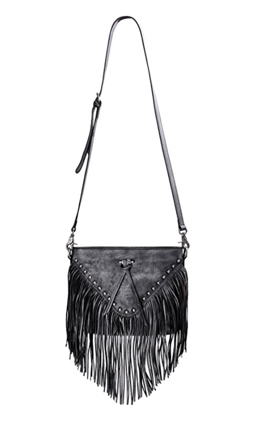 Into The Future Silver Fringe Leather Purse