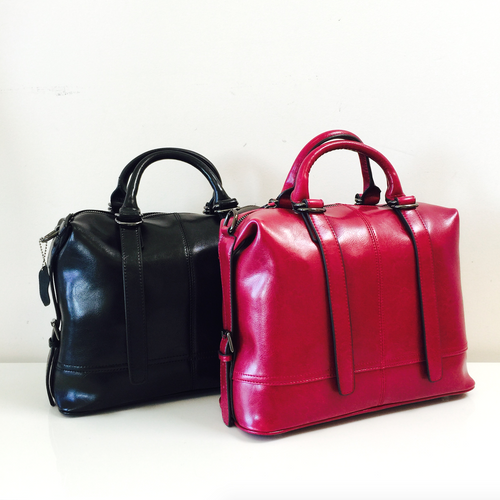 Becky's Overnight Bag in Black or Magenta Genuine Leather