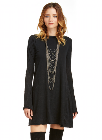 Mark and Estel Belled Sleeve Sweater Dress -Black- Cashmere Cotton- All Sizes