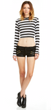 Mark and Estel Crop Zipper Jean Shorts Black Small