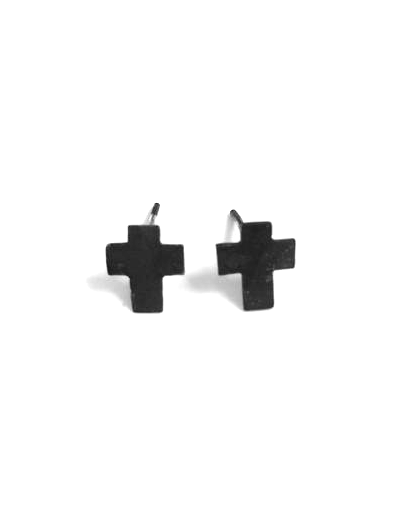 Mark and Estel X Rossmore Cross Stud Earrings in Black, Gold, or Silver