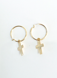 Mark and Estel X Rossmore Cross Mini Hoop Earrings in 14K Gold or Sterling