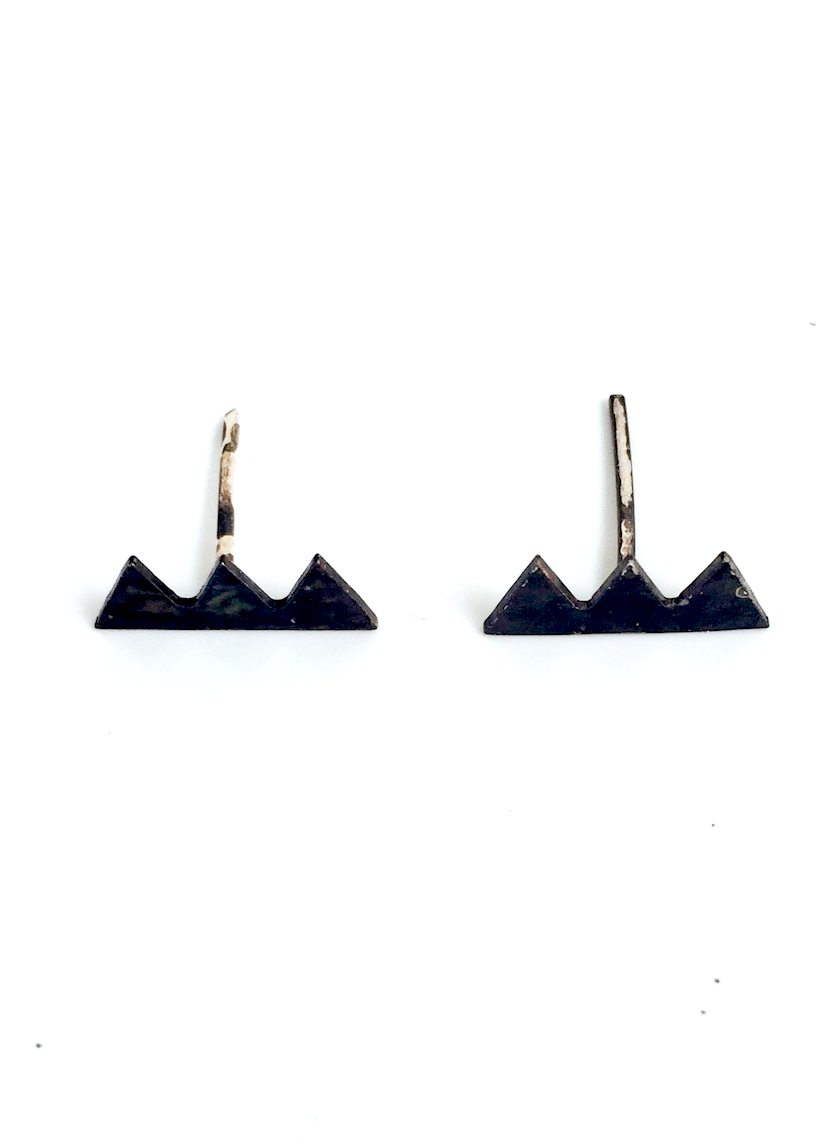 Mark and Estel X Rossmore Teeth Stud Earrings in Black, Gold, or Silver