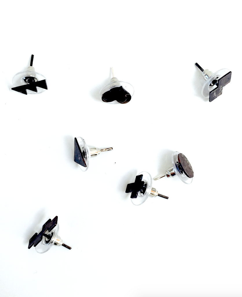 Mark and Estel X Rossmore Heart Stud Earrings in Black, Gold, or Silver