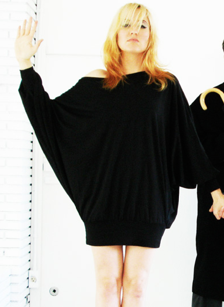 Copy of Copy of Mark and Estel Cotton Dolman Sleeve Dress in Black