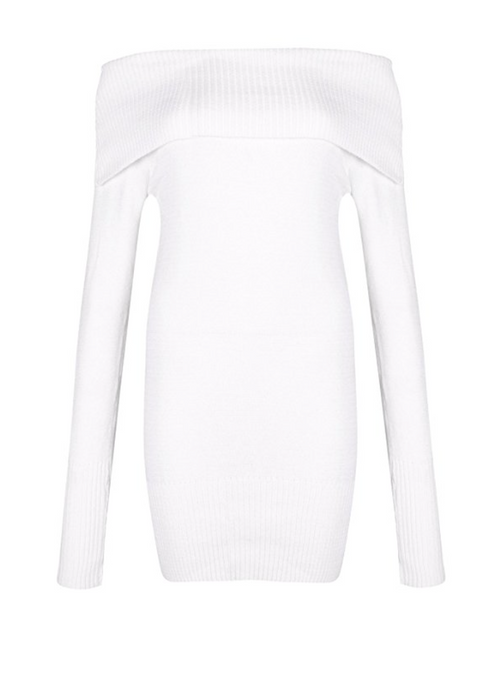 Shoulder Baring Turtleneck Sweater Dress in White