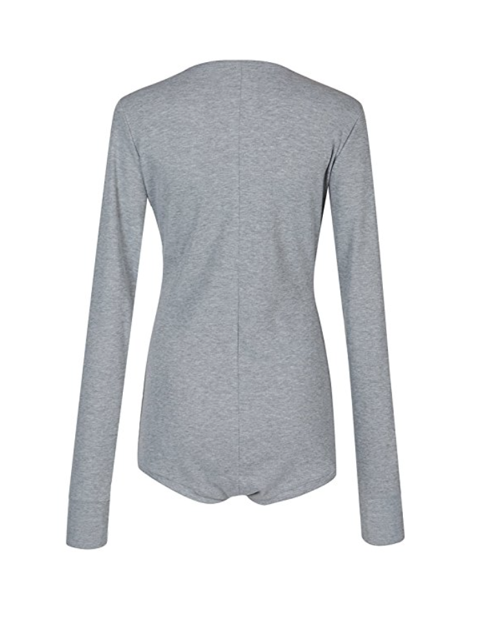 Snap It Up Long Sleeve Body Suit- Heather Grey (Small - X-Large)