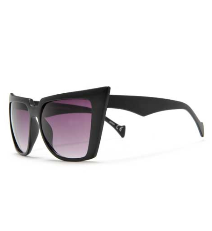 Oversized Bat Eye Cat Eye Sunglasses in Black