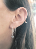 Mark and Estel X Rossmore PEACE STAR Chain Thread Earrings (Sterling, Rose Gold, Gold)