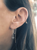 Mark and Estel X Rossmore CRYSTAL Chain Thread Earrings