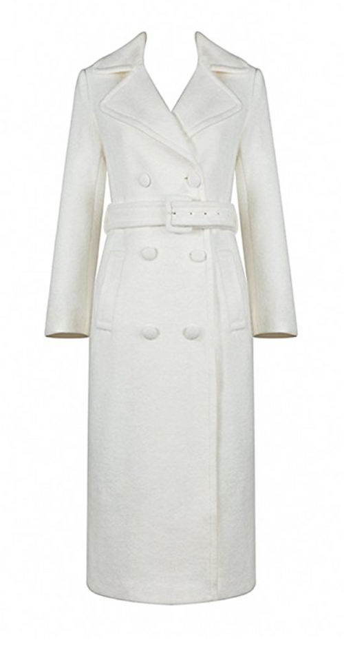 Winter White Wool Trench Coat (Small - XLarge)