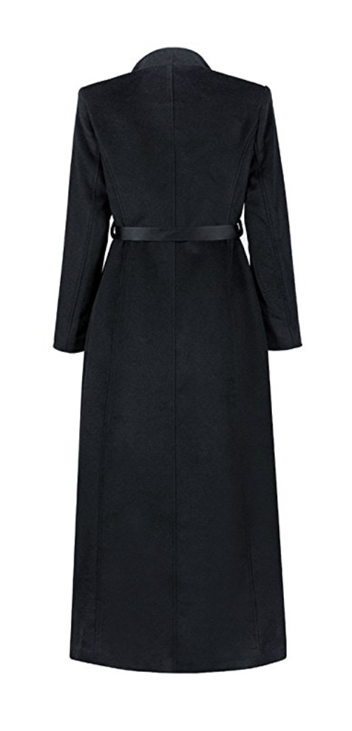 Rockstar Belted Black Maxi Wool Winter Coat (Small - XLarge)