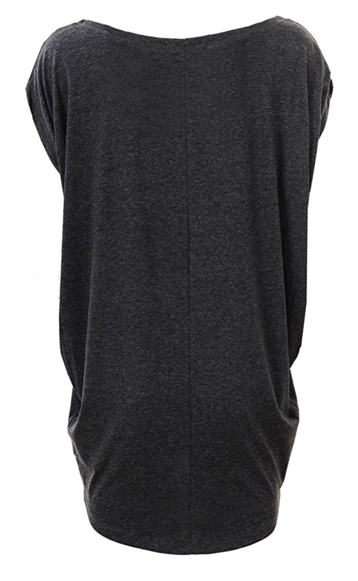 Off Shoulder Relaxed Open Armhole Tunic Tee in Black and Charcoal (XS - XL)