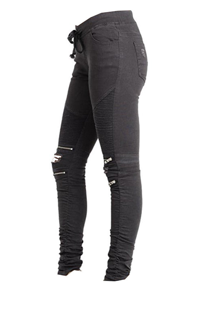 Zipper Quilted Sweatpants in Charcoal or Black