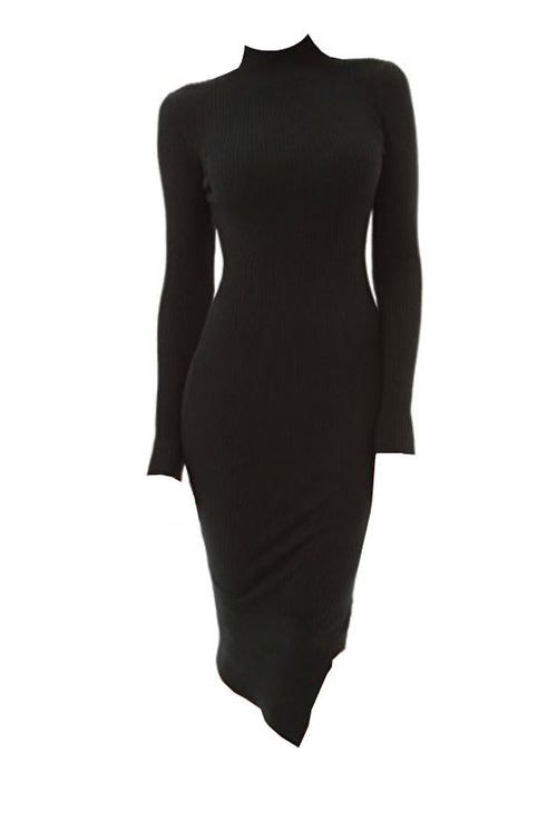 Turtleneck Asymmetrical Sweater Dress