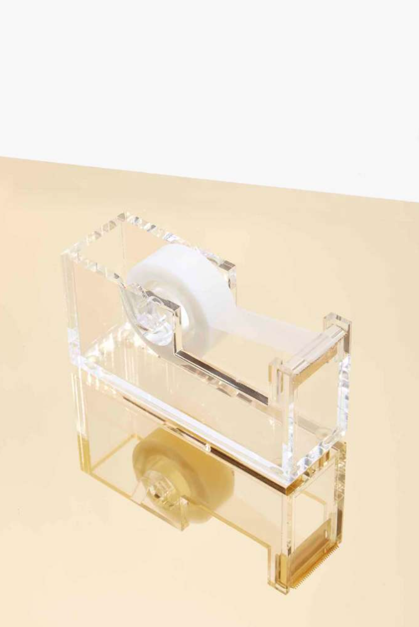 CLEAR Rockstar Lucite and Gold Tape Dispenser