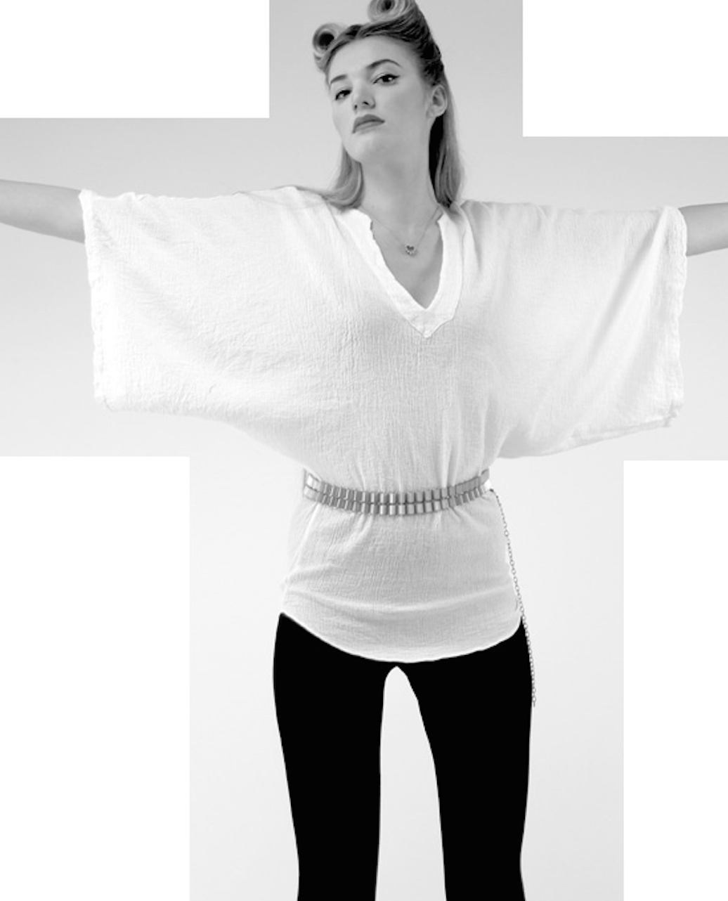 Mark and Estel Cotton Gauze Wing Sleeve V-Neck Top- White Medium