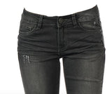 Gunmetal Grey Distressed Skinny Jeans
