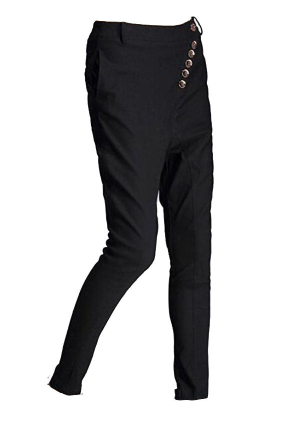 Cross Button Drop Crotch Trousers