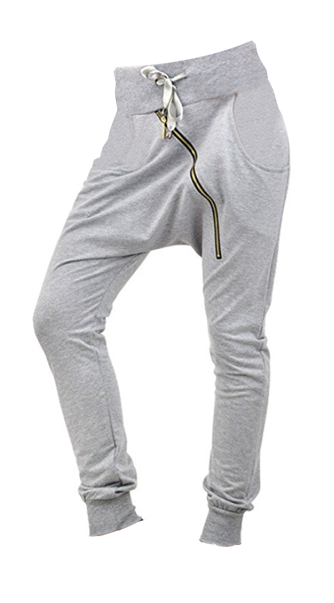 Cotton Zipper Drop Crotch Joggers in Navy and Heather Grey (Size 4, 8, 10)