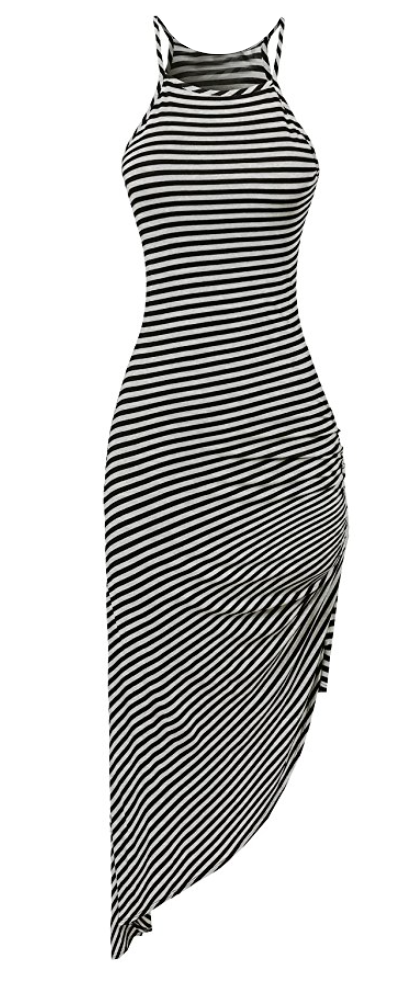 STriped Asymmetrical Tank DRess in Heather/Black