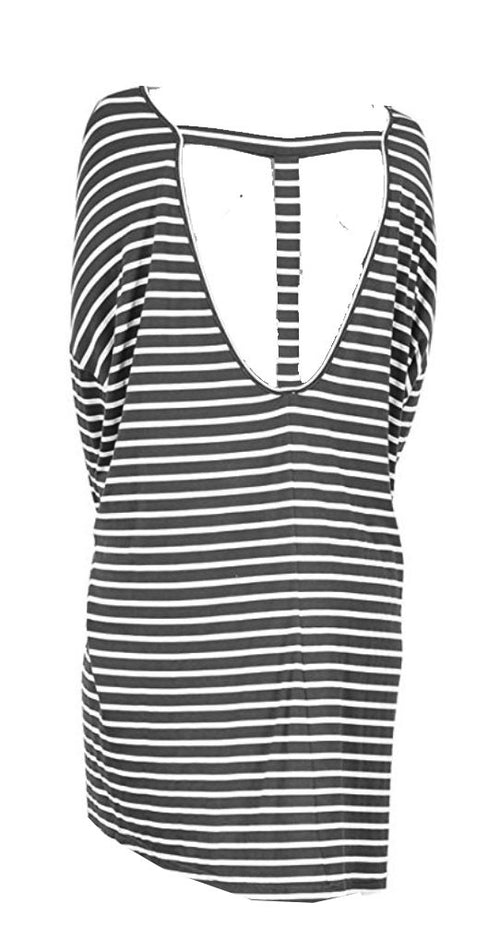 Striped Bar Back Tee Shirt Tunic Dress
