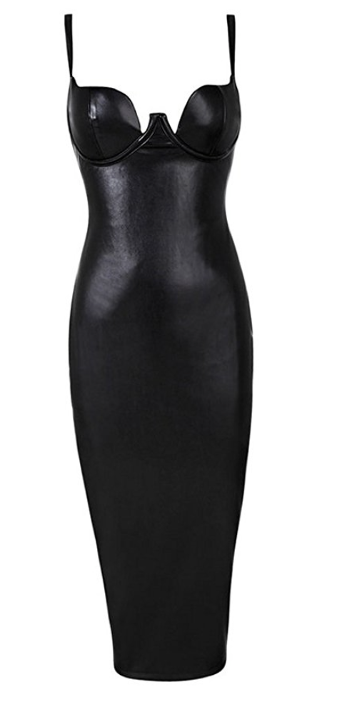 Second Skin Vegan Leather Dress in Black