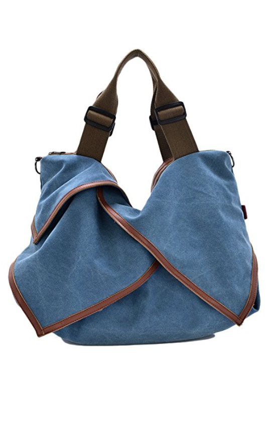 The Jetsetter Distressed Canvas Tote in Denim Blue