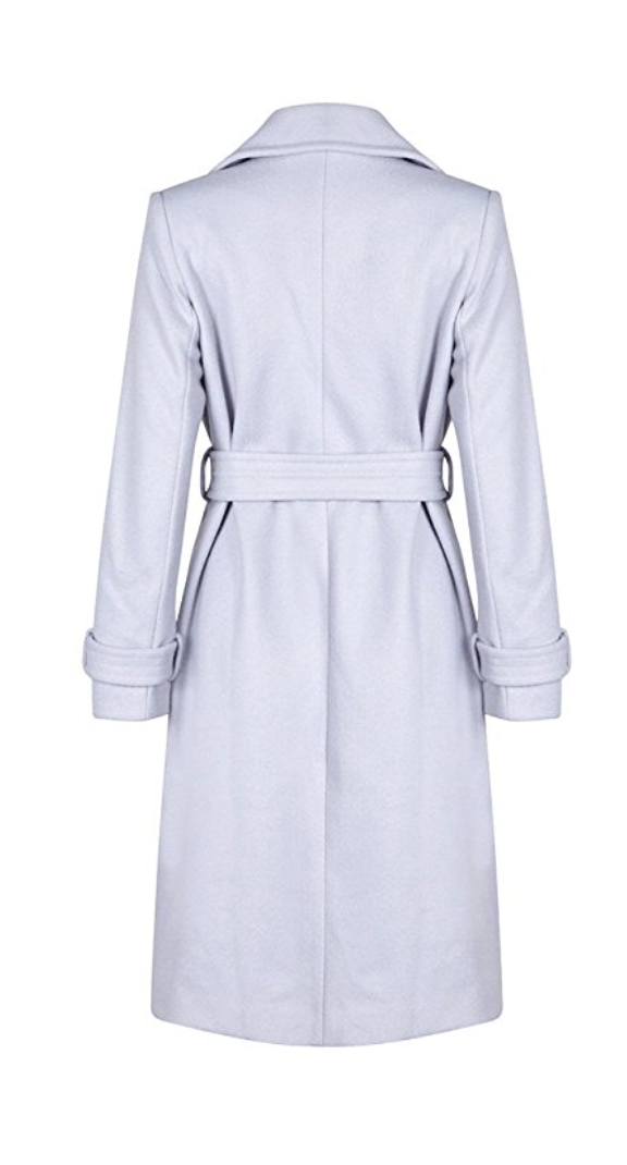 Oversized Baby Blue Wool Wrap Coat (Small - Large)