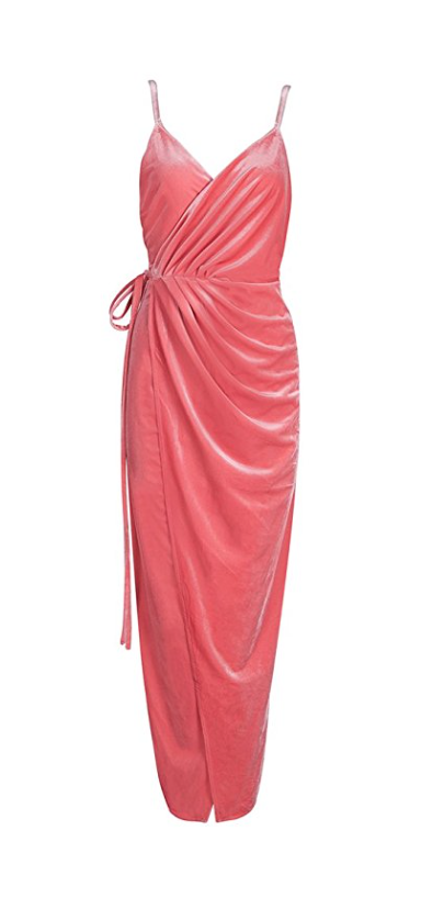 Pretty in Pink Backless Velvet Wrap Dress