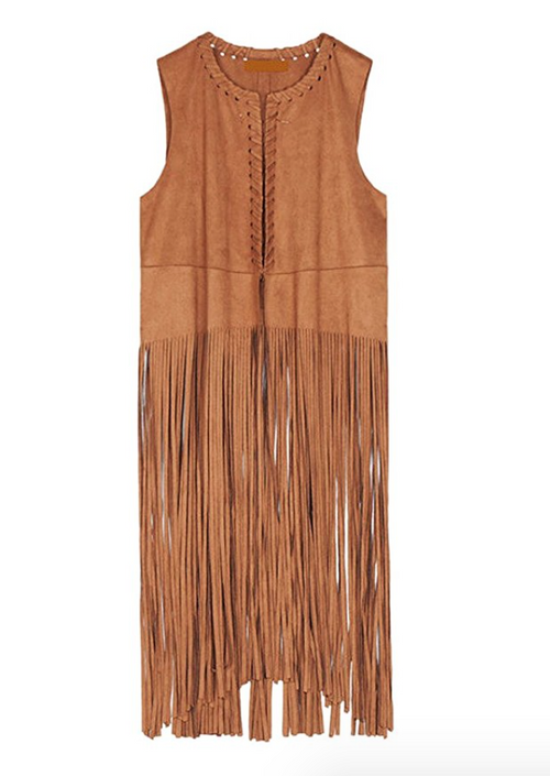 The Love Fringe Vest in Camel