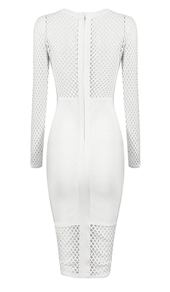 Mesh and White all Over Cocktail Dress