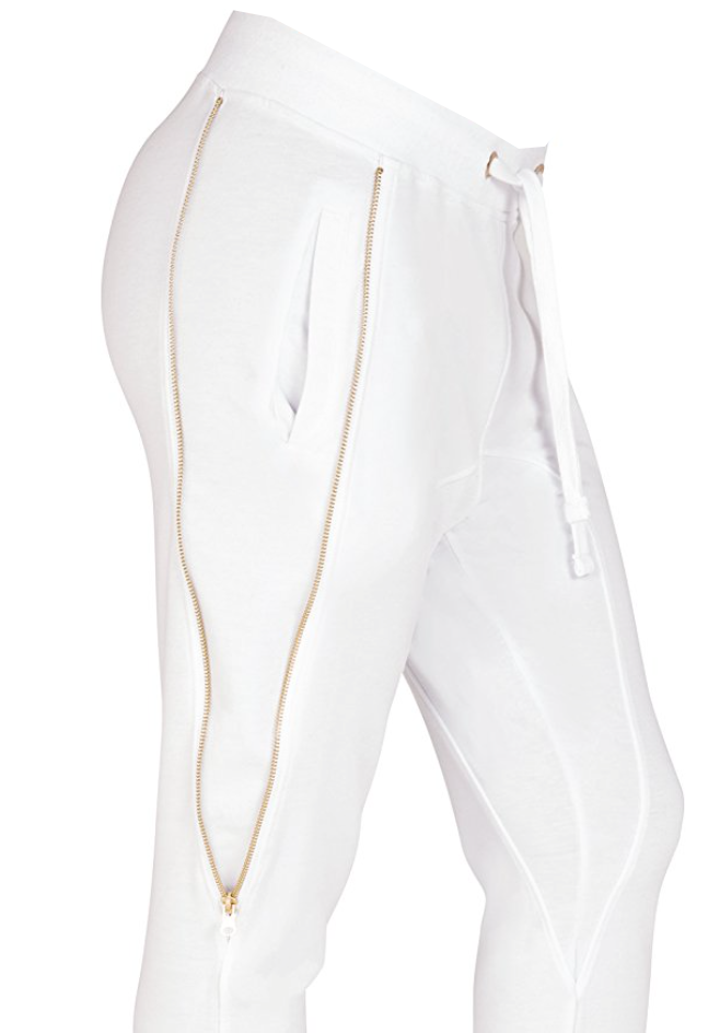 Rockstar Zipper Joggers in White (Small - 3XL)