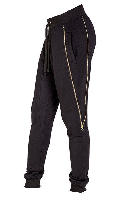 Rockstar Zipper Joggers in Black (Small - 3XL)